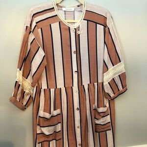 Never worn orange striped Roolee boho dress